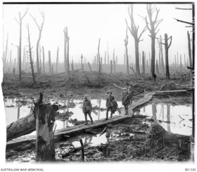 Five Australians, members of a field artillery brigade, passing along a duckboard track over mud and water among gaunt bare tree trunks in the devastated Chateau Wood