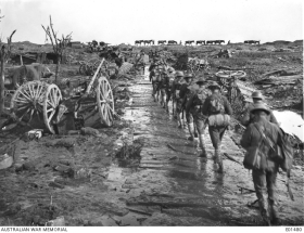 Men and pack mules rounding Idiot Corner, on Westhoek Ridge, in Belgium, moving up to the front line