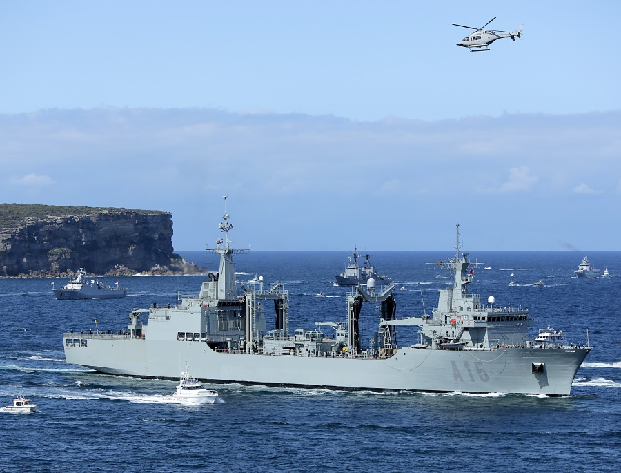 The Spanish Replenishment Oiler ESPS Cantabria leads Division five into Sydney Harbour for the International Fleet Review 2013.jpg