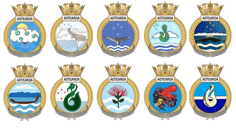HMNZS Aotearoa Shortlisted Badge Designs