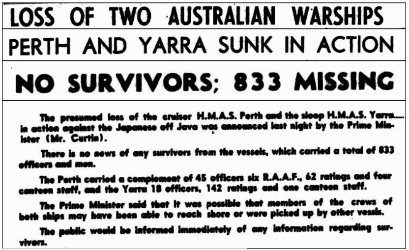 HMAS Yarra Canberra Times 14 March 1942