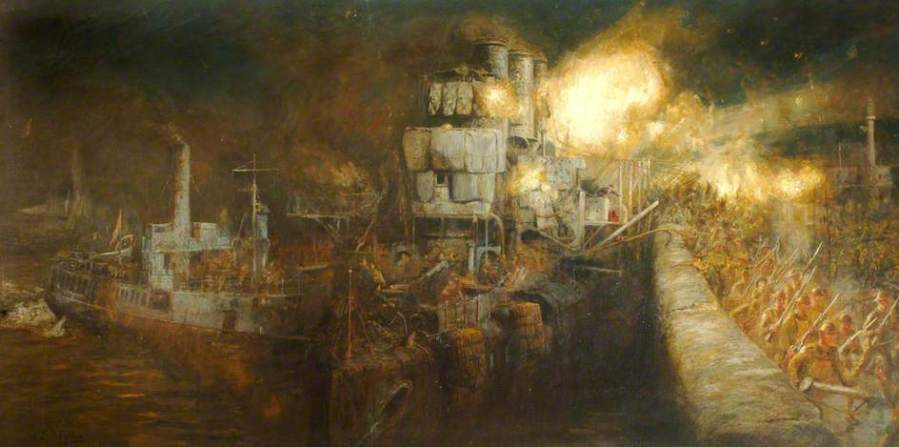 Wyllie, William Lionel, 1851-1931; The Storming of Zeebrugge Mole, St George's Day, 23 April 1918